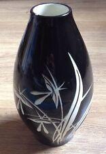 Poterie Vase Floral noir Vintage Westerwald carreaux céramique mi-siècle