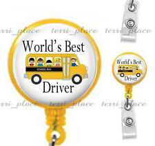 World's Best School Bus Driver Clip On Id Badge Reel Retractable Work Id Holder