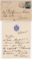 Autografo su biglietto del Senato del Regno in busta per Brescia, 03/07/1906