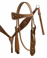 Floral Tooled Leather Western Bridle & Breastcollar & Reins w/ Clear Rhinestones