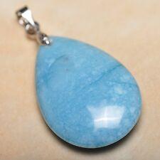 Blu Pallido CARAIBI Larimar Diaspro Argento Sterling 925 gancetto 3.8Cm ciondolo