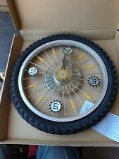 ALUMINUM BMX BICYCLE RIM WALL CLOCK 18 INCH BLACK RUBBER TIRE NEW IN BOX