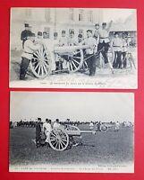2 x Militär AK FRANKREICH 1. WK 1914 Soldaten mit Kanonen Geschütz   ( 23643