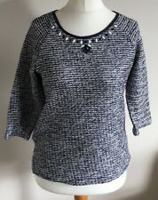 M&Co Size 12 Ladies White & Blue Jumper Top With Front Sequin Detail