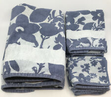 SONOMA Goods 6 Pc Bath Towel Set 2 Bath 2 Hand 2 Washcloths Blue Floral / 2 Tone