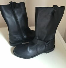 BRAND NEW MARKS & SPENCER LEATHER Mid Calf Zip Boots SIZE 4-5 EUR 38