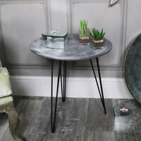 Rustic industrial style round concrete topped occasional side plant table retro