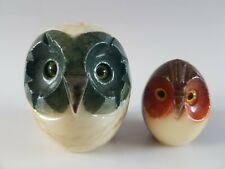 2 x Vintage Stone Owl Bird Marble Granite Paperweights Sculpture hand carved
