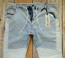 $308 (280 Euro) NEW Diesel KROOLEY-BK-NE Sweat Jeans Light Blue W38xL32 Cotton