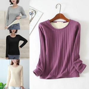 Women Winter Warm Thick Long Sleeve T-Shirt Fleece Lined Undershirt Thermal Top
