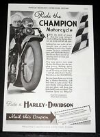 1934 OLD MAGAZINE PRINT AD, RIDE HARLEY-DAVIDSON, RIDE THE CHAMPION MOTORCYCLE!