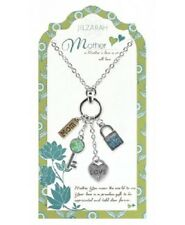 NEW JILZARA Clay Beads MOTHER Pendant Necklace KEY LOCK HEART MOM CHARM