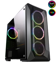 Game Max Kamikaze PRO RGB MATX Gaming PC Case Tempered Glass 4x Ring Fans