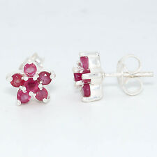 92.5 Sterling Silver Natural Ruby Glass Filled Round Cut Studs Earrings D-753