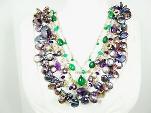 STEPHEN DWECK Sterling S Peacock Pearls Green Onyx Amethyst Five Strand Necklace