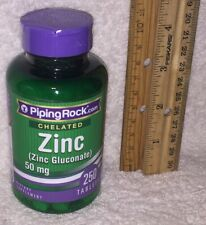 Chelated Zinc (OK for vegetarians), from Piping Rock. 250 tablets, 50 mg each