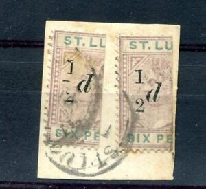 St Lucia QV 1891-92 halfpence on half sixpence pair, no fraction bar SG54/a used