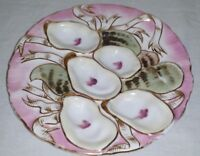 Antique Turkey Haviland & Company Limoge Pink Gold Oyster Plate