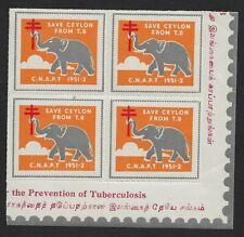 Ceylon TB Tubercolosis seal 1951-2 ELEPHANT block of 4 MNH
