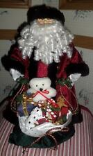 15 inch Resin/Plush Santa w/Bag of Toys Tree Topper/Window/Curio Display Nice Bc