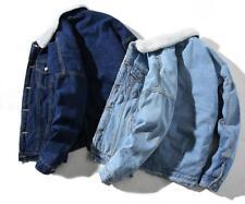 Men's Fleece Lined Winter Warm Coat Trucker Denim/Jean Jacket Fur Collar 2018