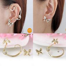 Fashion Women Crystal Rhinestone Ear Cuff Clip Stud Butterfly Earrings Jewelry