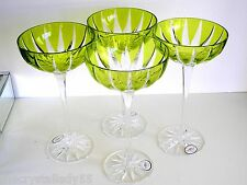 "AJKA LAUSANNE BALENCIAGA LIME CASED CUT TO CLEAR 9"" SAUCER CHAMPAGNES Set of 4"