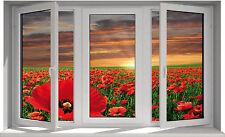 Sticker fenêtre trompe l'oeil Coquelicot 100x60cm F32