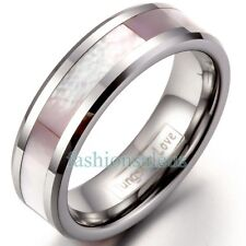 6mm Polish Tungsten Carbide Women's Ring Wedding Band with Pink Shell Inlaid