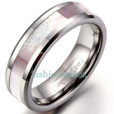 6mm Polaco De Carburo De Tungsteno Para Mujer Anillo de bodas de Con Rosa Shell Con Incrustaciones