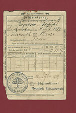 Documento 1909 Registrazione Impero Germanico Quittungskarte Firenzuola Neustadt