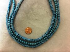 "Three Different Shaped 16"" Strands Resin Faux-Turquoise-Cubes, Bamboo, Round"