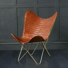 Butterfly Chair Retro Vintage Industrial Leather Brown Ribbed Seat Gold Base