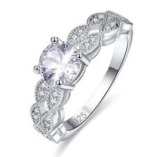 Fashion Round Cut White Topaz Silver Ring Women Wedding Jewelry Gift Valentines