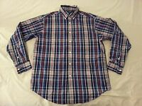 Mens Roundtree and Yorke Plaid Dress Shirt M Medium Blue Cotton Long Button