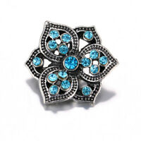 10pcs 18mm Flower Rhinestone Alloy Snap Buttons Fit Noosa Snap Bracelet N657