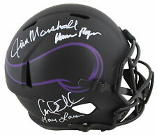 Vikings Purple People Eaters (4) Signed Eclipse Full Size Speed Rep Helmet BAS