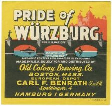 1920's Pride of Wurzburg Prohibition Label - Boston, MA - 1/2 of 1%