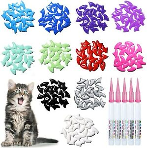 SALE! 100 pcs Soft Cat Nail Caps Claw Covers with Adhesives and Applicators