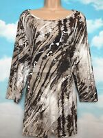BETTY BARCLAY collection XXL brown cream print jersey tunic top