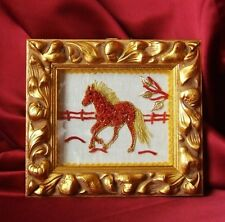 horse , art, sculpture 2d natural red coral mediterranean,  quadri in corallo
