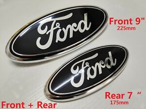 FORD TRANSIT FRONT + REAR GRILLE BLACK BADGE BONNET EMBLEM 2006-2014 MK6 MK7
