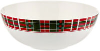 """Lenox Vintage Christmas Plaid 10"""" Serving Bowl Red/Green New in Box"""