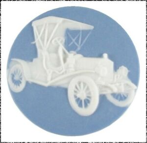 Large Blue & White Jasperware Button, Model T Car, by Shirley Shaw