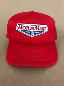 Vtg GM Motor Mart Mesh Snap Back Trucker Hat 80's Mechanic General Motors Chevy