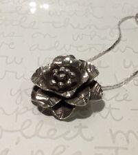 "Vtg Artisan Handmade Textured Sterling CABBAGE ROSE Pendant Necklace 18"" 8.3g"