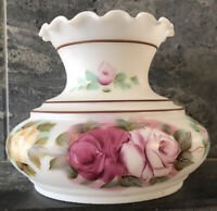 VTG Hand Painted Floral Roses Hurricane Lamp Shade Ruffled Glass LOVELY GWTW 6""