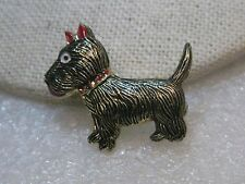 "Vintage Scottie Dog Enameled Brooch, 1.25"", Black/Red"