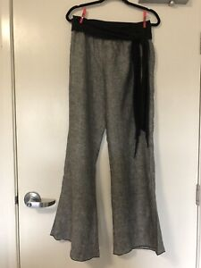 NEW OBI 14 Grey/Black Linen Pants
