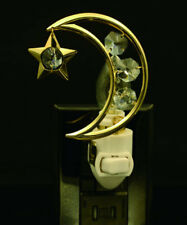MOON AND STAR 24K GOLD PLATED NIGHTLIGHT WITH CRYSTALS BY SWAROVSKI